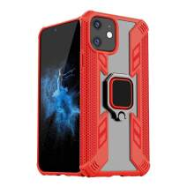 BIBERCAS iPhone 11 Case with Ring Holder,Silicone TPU+PC Protective Case with 360º Rotatable Ring Grip Stand,Clear Shockproof Kickstand Case Work with Magnetic Car Mount Holder for iPhone 11-6.1 inch