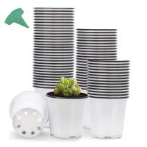 GROWNEER 120 Packs 3.5 Inches Plastic Plant Nursery Pots with 15 Pcs Plant Labels, Seed Starting Pot Flower Plant Container for Succulents, Seedlings, Cuttings, Transplanting, White