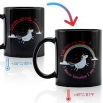 Onebttl Funny Unicorn Coffee Mug - Magic Color Changing Mug - Unique Heat Sensitive Mug 12 oz - Black Ceramic Mug - for Girls Women Adults