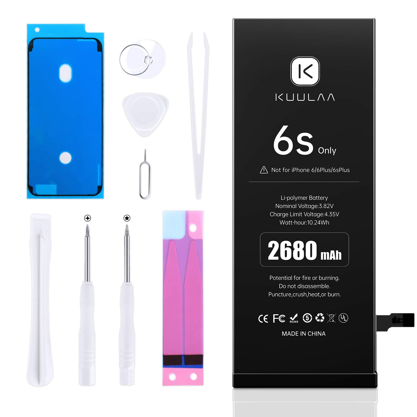 [2680mAh] Battery for iPhone 6S (2021 New Version), KUULAA New Upgrade 0 Cycle High Capacity Battery Replacement for iPhone 6S with Complete Professional Repair Tools Kits - 24 Months Service