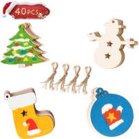 """40PCS Christmas DIY Ornaments,Unfinished Wood Ornament for Kids, Kids Christmas Crafts, Christmas Tree Craft Supplies 3.5"""" 8 Style Wooden Discs with Holes"""