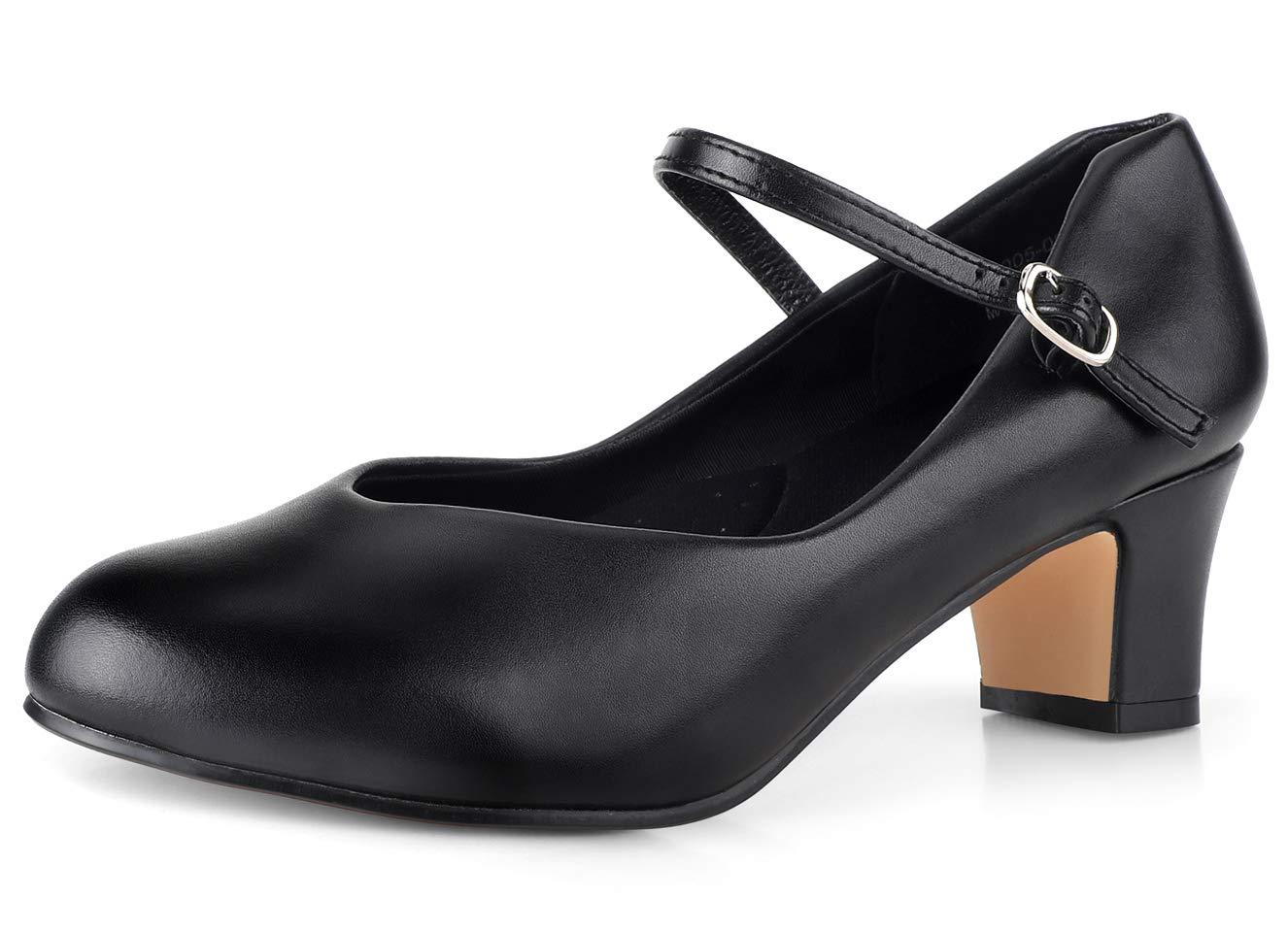 "SKOEX Character Shoes for Women 2"" Heel Black/Tan"