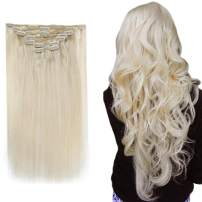 """[Hot Color] Clip in Hair Extensions 14"""", #60 Platinum Blonde Real Human Hair Extensions, 7 Pieces 90Gram for Silky Straight Double Weft Remy Hair Extensions Clip on/in for Women /Kids--Easyouth"""