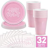 Girl Baby Shower Party Supplies for 32 Guests (Pink) Includes: Paper Plates, Luncheon Napkins, 16 oz Cups, Classy and Stylish Light Pink Design