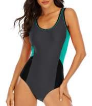 Halcurt Women Color Block One Piece Swimsuit Aerobic Bathing Suit Chlorine Proof