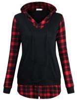 Faddare Plaid Hoodie, Ladies Vintage Lattice Back to School Drawstring Sweatshirt Tops with Side Pockets,Black Red XL