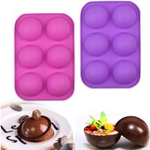 Half Circle Silicone Chocolate Molds,Large 6-Cavity Semi Sphere Silicone Mold,Baking Mold for Making Hot Chocolate Bomb,Cake,Jelly,Dome Mousse Muffin (2pcs, purple+pink)