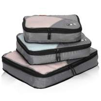Hynes Eagle Travel Compression Packing Cubes Expandable Packing Organizer 3 Pieces Set Grey