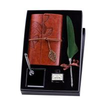 Pawaca Quill Pen,Natural Handcrafted Luxury Quill Pen and Ink Set,Antique Dip Feather Pen Set Calligraphy Pen Set Writing Quill Ink Dip Pen with Notebook Ink Pen Holder,Gift Set. (Tree Green)