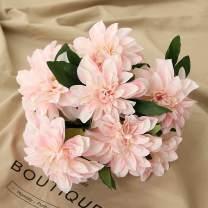 Homyu 10 Heads Dahlia Fake Flowers Artificial Dahlia Flowers Faux Flowers for Home Wedding Party Office Supplies (Light Pink)