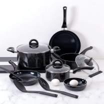 Fleischer & Wolf Nonstick Cookware Sets,Pots and Pans Sets,12 Pieces, Black, Aluminum, Nylon Slotted,Spoons,Dishwasher Safe
