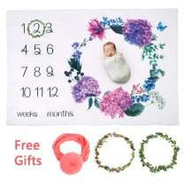 yazi Baby Monthly Milestone Blanket for New Mon/Newborn Photo Prop Blanket/Shower Gift for Infants & Toddlers/Infants for Swaddling/Bonus Floral Wreath & Headband Included