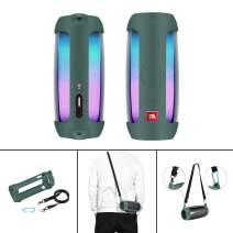 MASiKEN Flexible Carrying Case for JBL Pulse 4, Premiun Silicone Cover Protect Pouch Sleeve Skin with Shoulder Strap Green