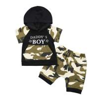 Infant Baby Boy Camouflage Clothes Short Sleeve Hooded T-Shirt Sweatshirt Tops + Long Pants Tracksuit 2Pcs Summer Outfits Set