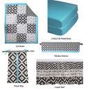 Bacati - Love Crib Bedding Set 100 Percent Cotton Percale Fabrics, Black/Turq Unisex (6 pc Patchwork Comforter, 3 Layer Frills Crib Skir)