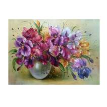 Diamond Painting Kits for Adults Kids, 5D DIY Purple Flower Diamond Art Accessories with Round Full Drill for Home Wall Decor - 15.7×11.8Inches