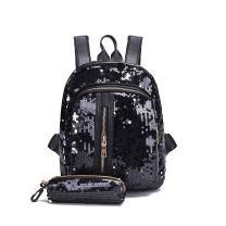 Donalworld Girl Glitter Sequin Backpack Set Bling Rucksack Bag with Pencil Case Bk