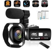 Camcorder Video Camera 4K 48MP WiFi YouTube Camera Night Vision Camcorder Blogging Camera 16x Digital Camera Vlog Video Camera Camcorder with LensHoods
