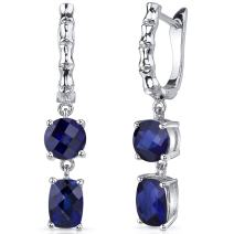 French Clip 4.50 Carats Created Blue Sapphire Checkerboard Cut Earrings in Sterling Silver Rhodium Finish