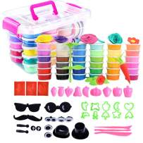 HenMerry 36 Colors Clay Set, Ultra-Light Safety Handmade Air Dry Clay Modeling Magic Clay Toy with Super Tools Accessories, Super Light DIY Clay Kit for Kids & Adult Gifts (36 Colors Clay)