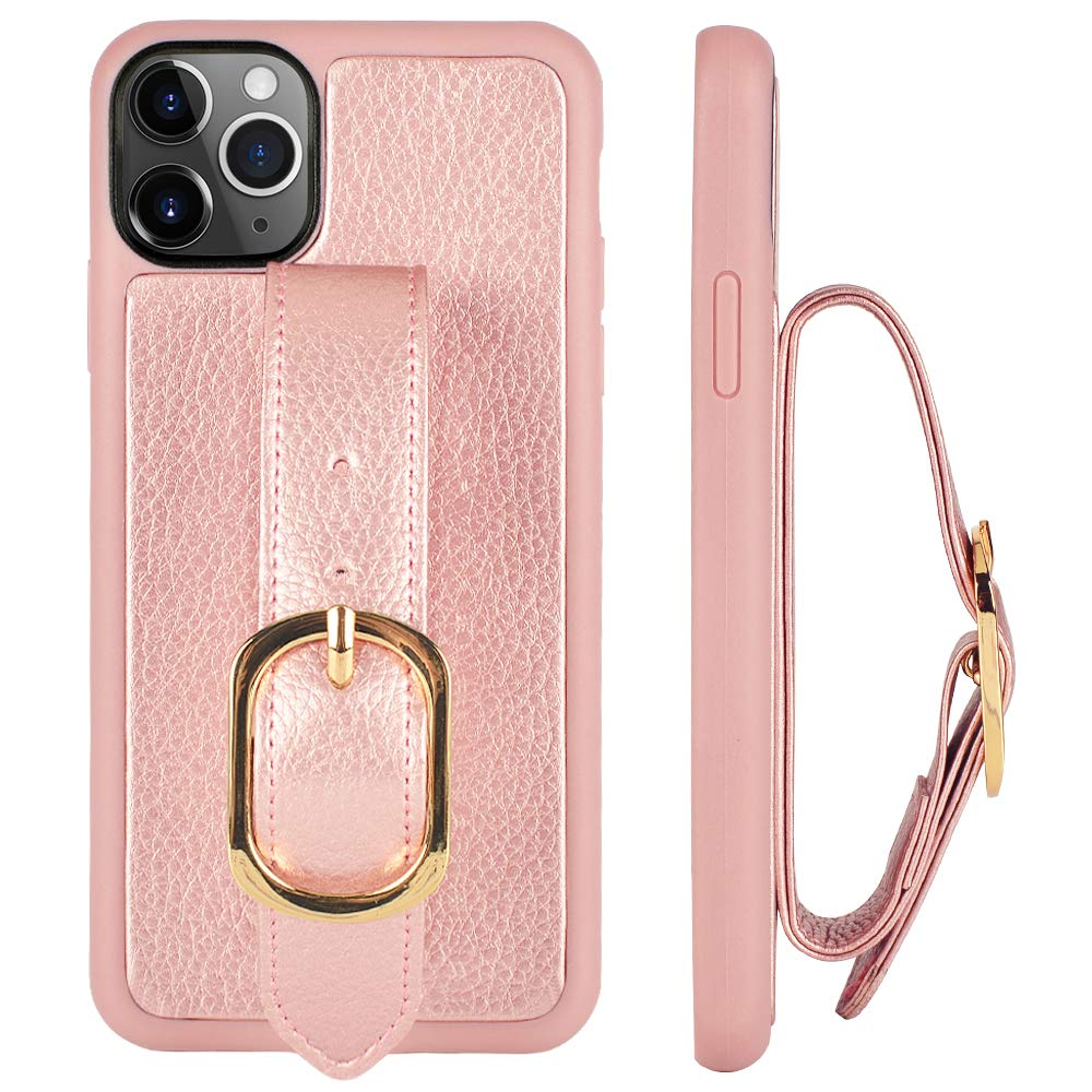iPhone 11 Pro Max Case with Kickstand, ZVE iPhone 11 Pro Max Case with Hand Band Handle Ring Wristband Ring Adjustable Wrist Ring Case Cover for iPhone 11 Pro Max 6.5 inch-Rose Gold
