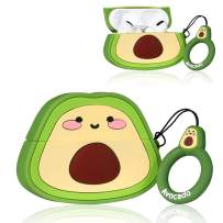 Coralogo Case for Airpods Pro/for Airpods 3 Cute, 3D Unique Fashion Character Silicone Cartoon Fruit Airpod Skin Funny Fun Cool Keychain Design Kids Teens Girls Boys Cover Cases Air pods 3 (Avocado)