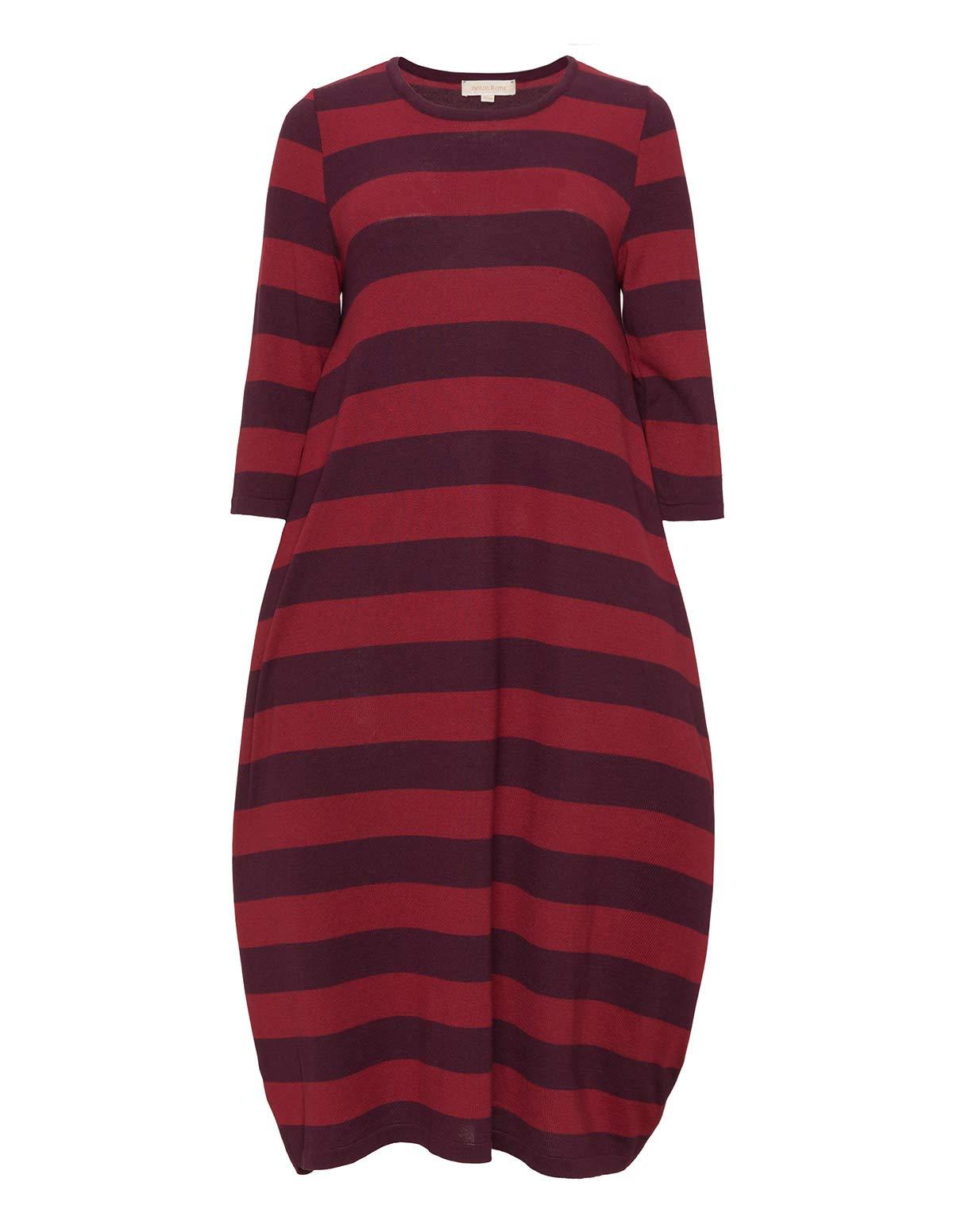 Isolde Roth Plus Size Dress Klara Knitted Striped Bubble Dress - Knee Length - Ladies - Women - Casual - navabi - Dark Purple and Dark red - US Size 10-12 Plus