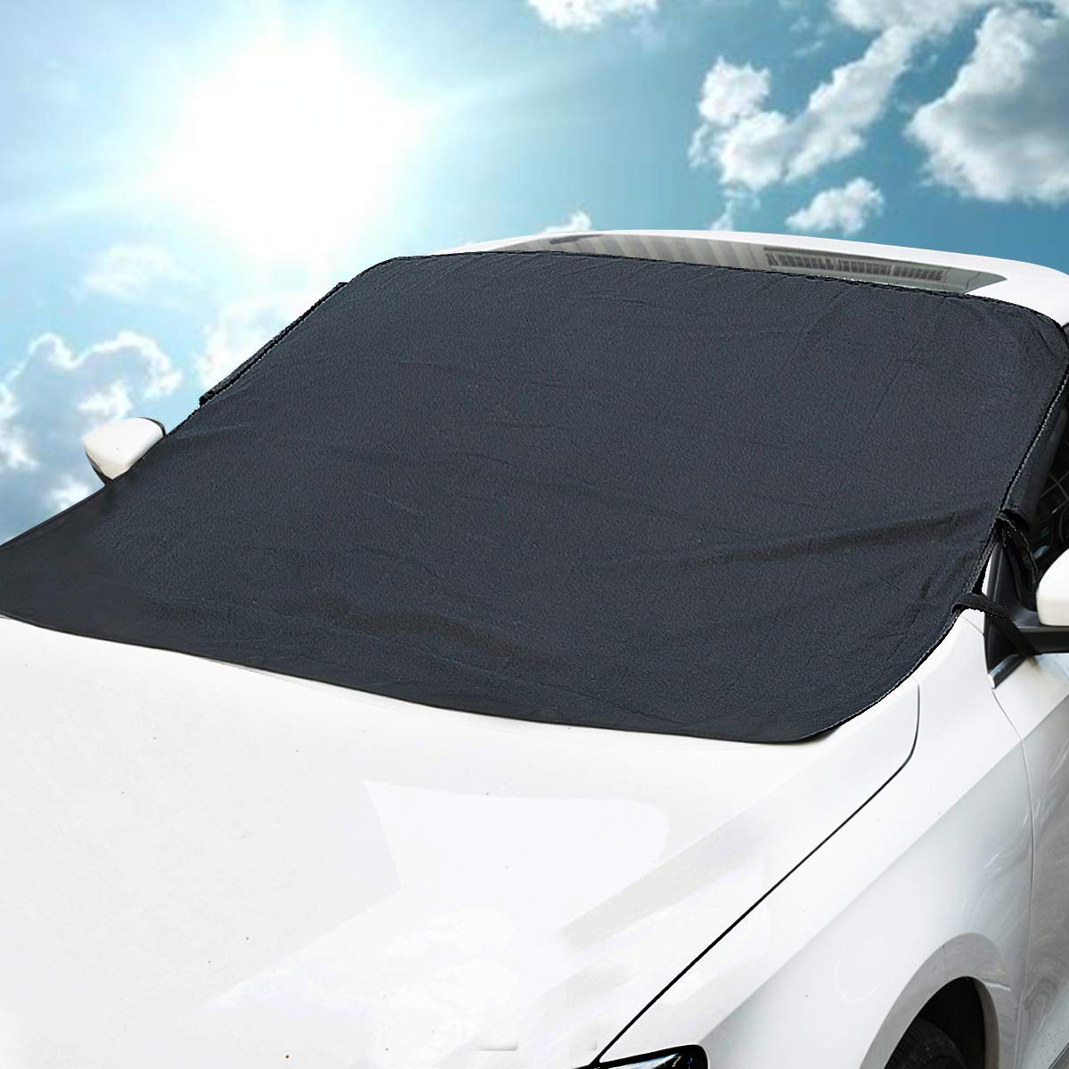 MATCC Windshield Cover Waterproof Sun Shade Protector with Magnets and Lengthened Side Panels Snow Protection Cover Fits All Season and Most Cars
