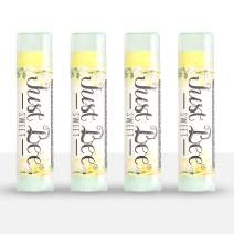 Just Bee 100% Natural Beeswax Lip Balm with Organic Oils (Sweet Honey, 4 Pack)