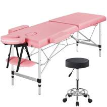 Topeakmart Aluminum Portable 2 Sections Spa Table & Stool Set Adjustable Massage Bed Rolling Stool Spa Bed Massage Therapy Table Swivel Salon Chair