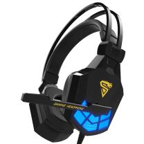 Kworld PC Gaming Over-Ear Headset with 40mm Driver&Led Light Emphasis On Deep Bass Effect, Volume Control and Noise Isolation, Black(G24)