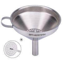 OTHERMAX Stainless Steel Kitchen Funnel with Detachable Strainer/Filter for Transmission of Liquid, Fluid, Dry Ingredients and Powder, 5-Inch Food Grade Metal Funnel for Cooking Oil, Silver