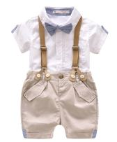 Toddler Baby Boys Gentleman Summer Suits Set Bowtie Shirt Bib Shorts Overalls