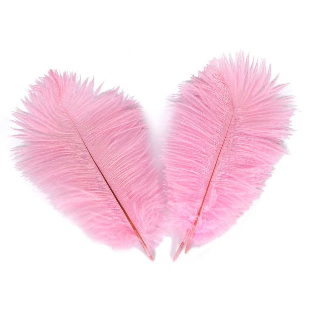 10pcs Real Natural Ostrich Feathers for Home Decoration DIY Craft (Pink, 12-14 inches (30-35cm))