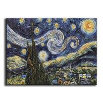 YaSheng Art -hand painted Oil Painting On Canvas Blue Starry Night by Vincent Van Gogh Work Abstract Oil Paintings Framed Modern Home Wall Art For Living Room Bedroom Dinning Room Ready to hang 24x36