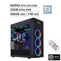 2020 NexiGo Stellar Flagship VR RGB Gaming Desktop Computer (Intel 8-Core i7-9700K 3.6GHz up to 4.9GHz, RTX 2070 8GB GDDR5, 32GB DDR4 RAM, 256GB SSD (Boot) + 1TB HDD, HDMI, WiFi, Windows 10)