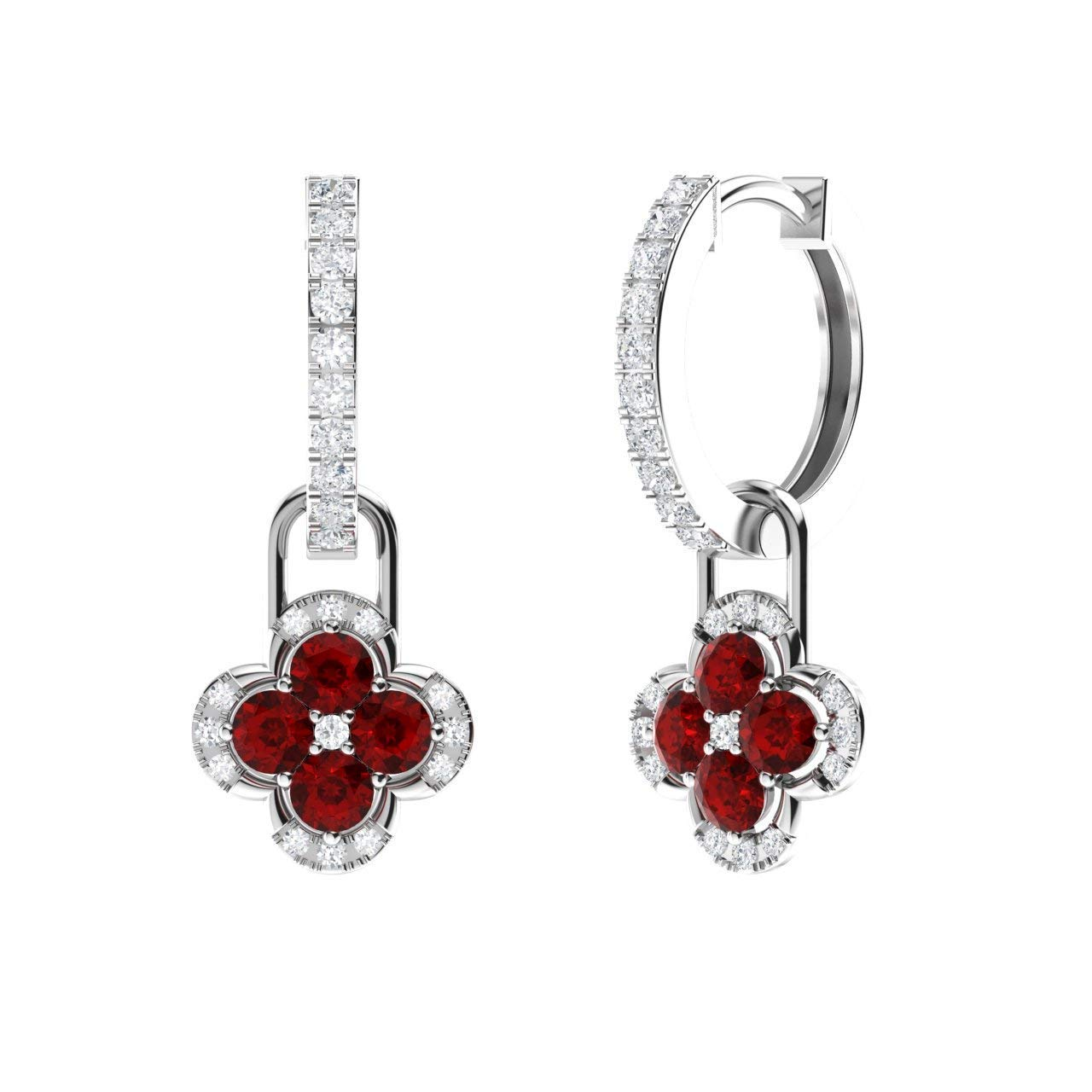 Diamondere Natural and Certified Diamond Huggie Earrings with a Dangling Gemstone Flower in 14K White Gold | 1.14 Carat Petite Earrings for Women