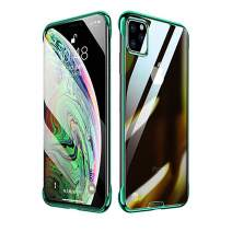 Compatible with iPhone 11 Pro Case,ASONRL Ultra-Thin HD Transparent Soft TPU Electroplated Plating Shockproof Protective Cover 5.8 inch Case (Green)