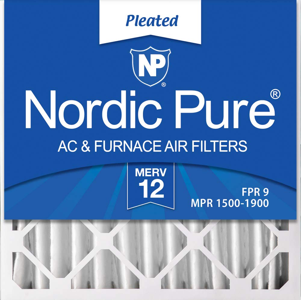 Nordic Pure 20x20x4 (3-5/8 Atcual Depth) MERV 12 Pleated AC Furnace Air Filters, 1 Pack