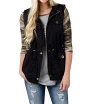 Voghtic Women Sleeveless Jacket Vest Lightweight Zipper Coat Loose Top with Pocket Plus Size