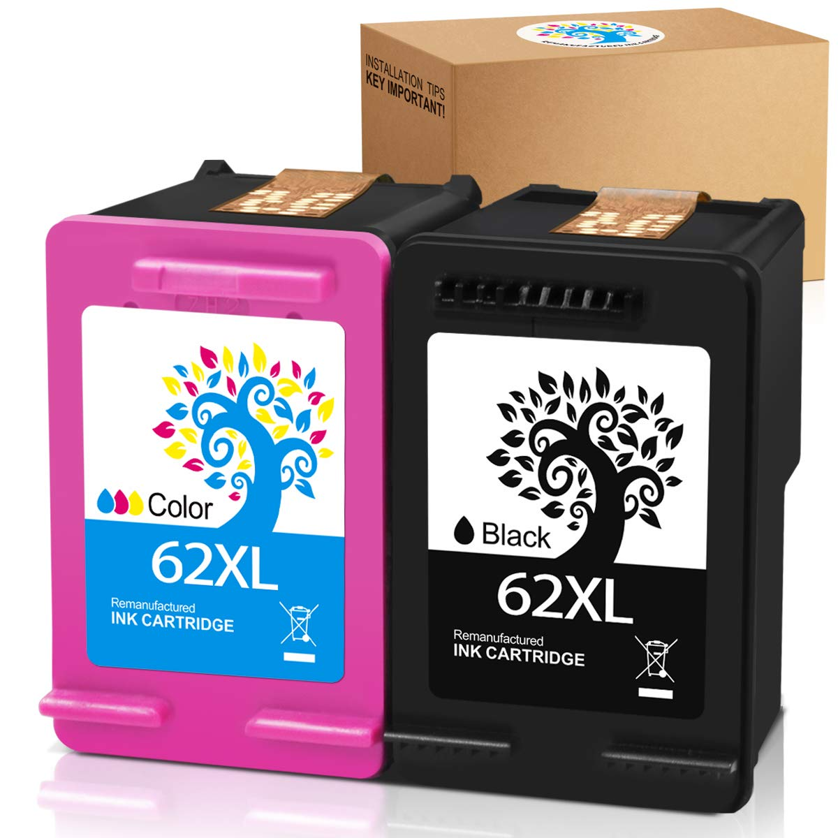 H&BO TOPMAE Remanufactured Ink Cartridge Replacement for HP 62 XL 62XL use with HP Envy 5640 5540 5660 7645 7644 Officejet 5740 8040 OfficeJet 200 250 Mobile Printer, Combo Pack (1 Black 1 Tri-Color)