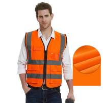 Gayisic ReflectiveSafetyVest, High Visibility, Bright Neon Color Construction Protector with Reflective Strips with Five Pockets (XL, Orange)