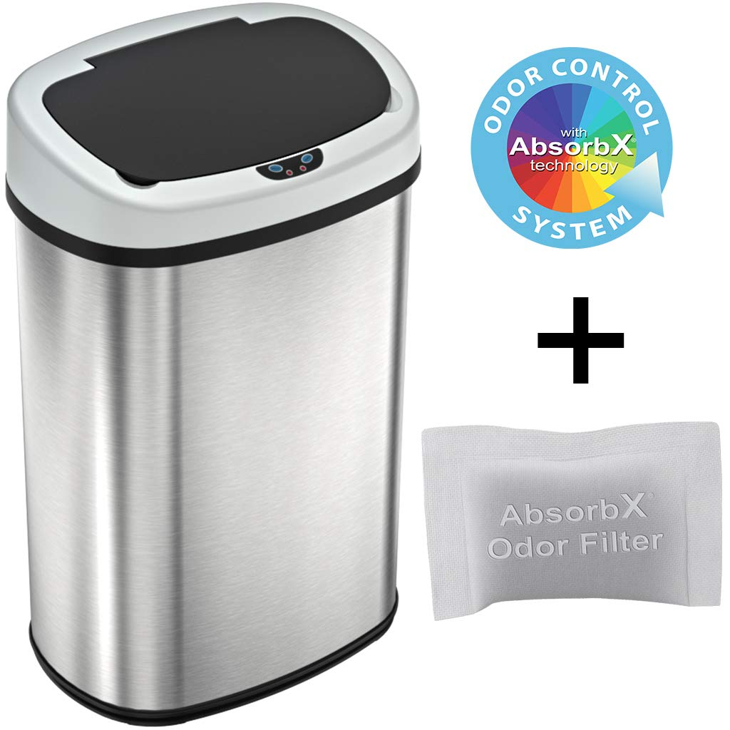 iTouchless 13 Gallon SensorCan Touchless Trash Can with Odor Control System, Stainless Steel, Oval Shape Kitchen Bin