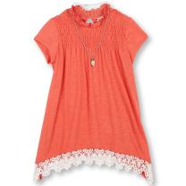 Speechless Girls' Big Sharkbite Top with Smocked Yoke