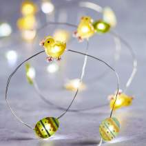 Lights4fun, Inc. 20 Chick & Easter Egg Battery Operated Micro LED Indoor Silver Wire String Lights