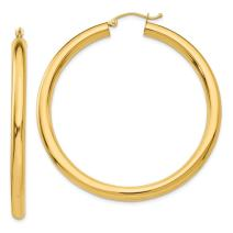 14k Yellow Gold 4mm Lightweight Tube Hoop Earrings Ear Hoops Set Round Classic Fine Jewelry For Women Gifts For Her