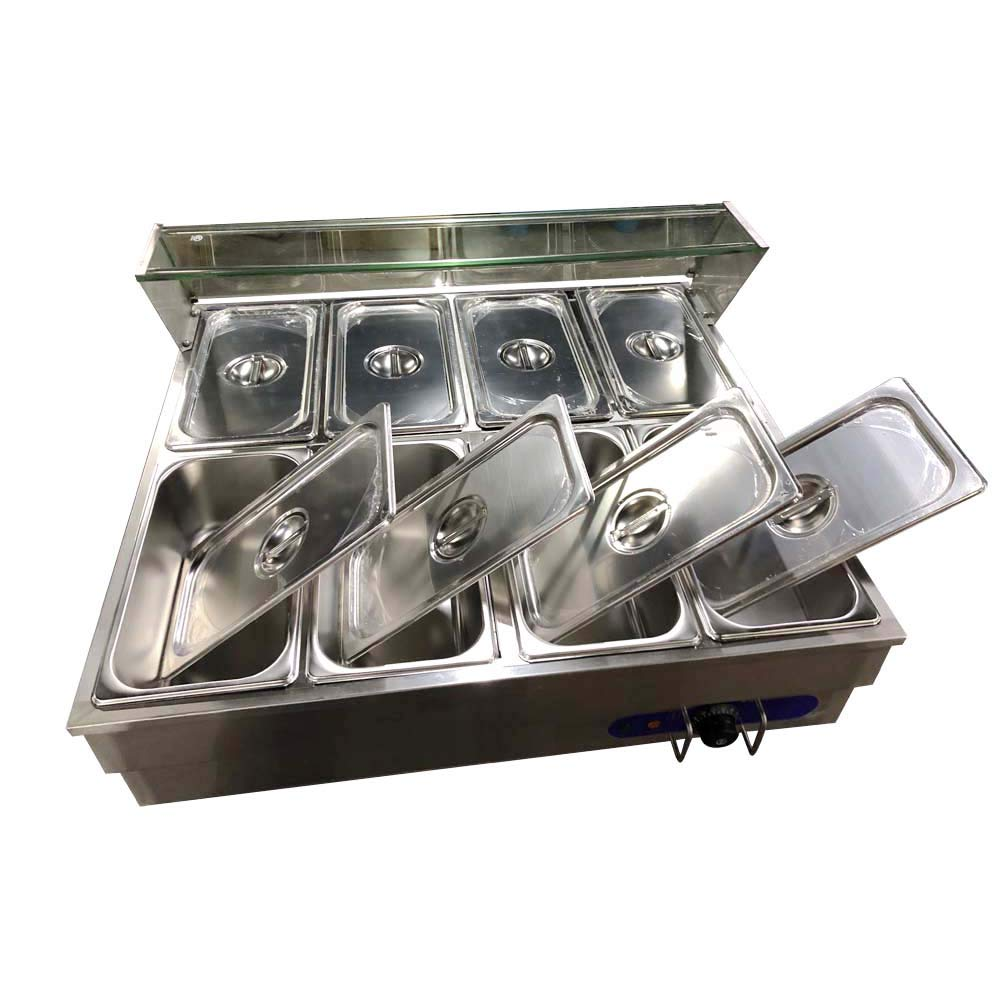 TECHTONGDA Food Soup Warmer Stove Bain Marie Commercial Canteen Buffet Steam Heater 12x5.5x4inch Pan With glass shield 8 Pan
