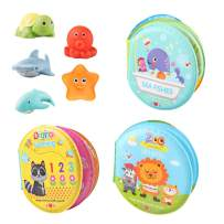 Baby Bath Toys For Kid Floating Toys Infant Bath Toys Books 3 Pack Toddlers Bath Toys Ocean Baby Toys Waterproof Sound Books Educational Bath Time Toys with 5 Squirt Toys for Children Boys and Girls
