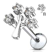 MoBody 16G CZ Jeweled Tree of Life Top Labret Piercing Surgical Steel Internally Threaded Monroe Lip Ring Helix Earring