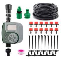 """VAlinks Automatic Drip Irrigation System with Digital Timer, Self Watering Kits Garden Irrigation Equipment, 33ft 1/4"""" Blank Distribution Tubing Hose for Garden, Flower Bed, Lawn"""